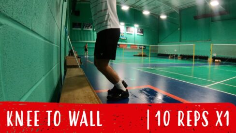 knee to wall warm-up