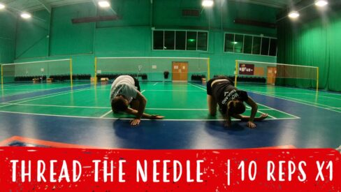 thread the needle for badminton warm-up